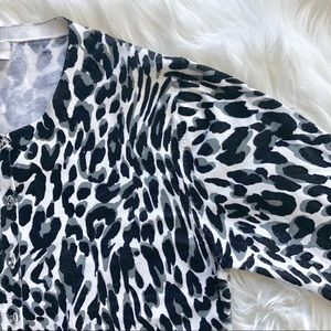 CALVIN KLEIN black + grey animal print cardigan